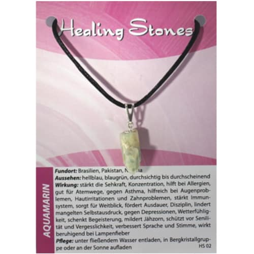 von Hand gefertigte, hochwertige und besondere Edelsteinkette ausAquamarin mit Seidenband und Erklärungskarte. Ein Unikat ausBrasilien/Pakistan.