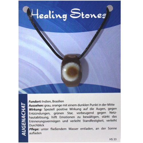 von Hand gefertigte, hochwertige und besondere Edelsteinkette aus Augenachat mit Seidenband und Erklärungskarte. Ein Unikat aus Indien, Brasilien.