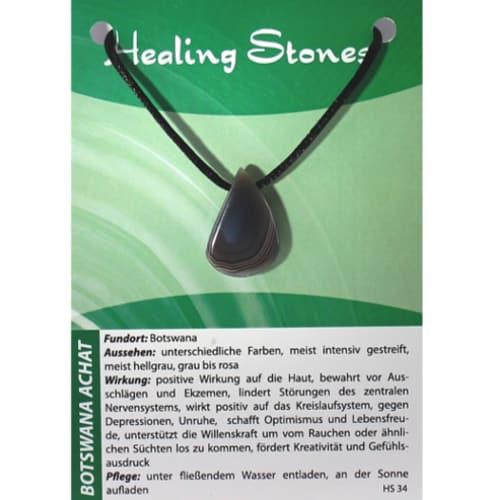 von Hand gefertigte, hochwertige und besondere Edelsteinkette ausAchat mit Seidenband und Erklärungskarte.