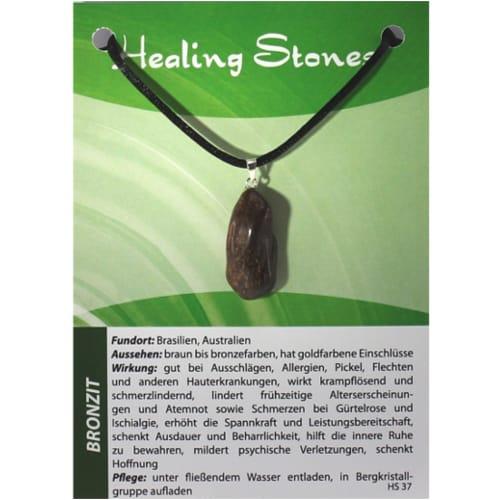 von Hand gefertigte, hochwertige und besondere Edelsteinkette aus Bronzit mit Seidenband und Erklärungskarte. Ein Unikat aus Brasilien, Australien.