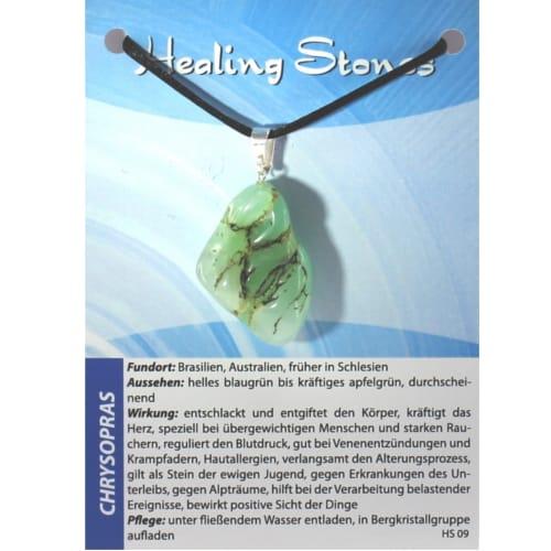 von Hand gefertigte, hochwertige und besondere Edelsteinkette aus Chrysopras mit Seidenband und Erklärungskarte. Ein Unikat aus Brasilien, Australien.