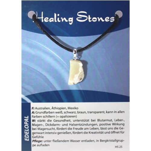 von Hand gefertigte, hochwertige und besondere Edelsteinkette ausEdelopal mit Seidenband und Erklärungskarte. Ein Unikat aus Australien, Äthiopien, Mexiko.