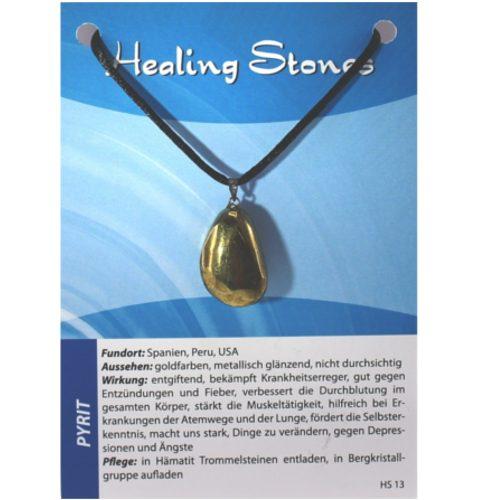 von Hand gefertigte, hochwertige und besondere Edelsteinkette aus Pyrit mit Seidenband und Erklärungskarte. Ein Unikat aus Spanien, Peru, USA.
