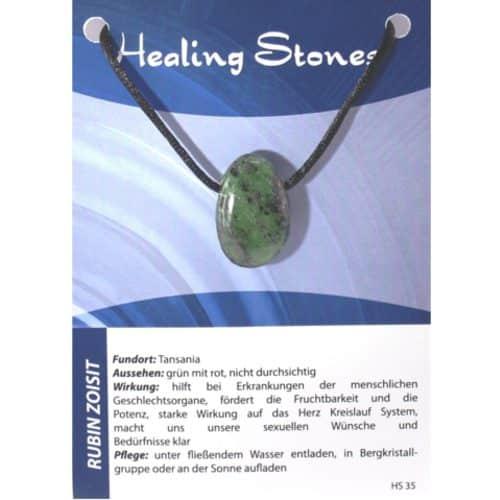 von Hand gefertigter, hochwertiger und besonderer Edelstein-Anhänger aus Rubin Zoisit, jeweils eingetütet mit Seidenband und Erklärungskarte.