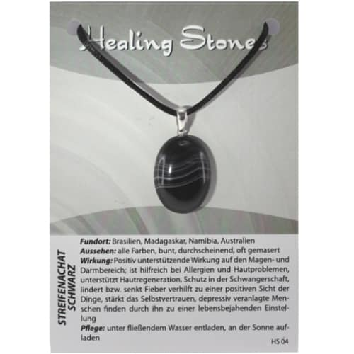von Hand gefertigte, hochwertige und besondere Edelsteinkette aus Streifenachat Schwarz mit Seidenband und Erklärungskarte. Ein Unikat aus Brasilien, Madagaskar, Namibia, Australien.