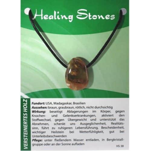 von Hand gefertigte, hochwertige und besondere Edelsteinkette aus aus Versteinertem Holzmit Seidenband und Erklärungskarte. Ein Unikat aus USA, Madagaskar, Brasilien.