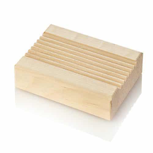 Seifenschale aus Zirbe rechteckig gerillt 12 x 9 cm