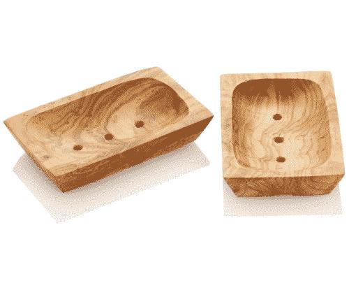 Seifenschale aus Olivenholz - Eckig 13,5 x 8 cm