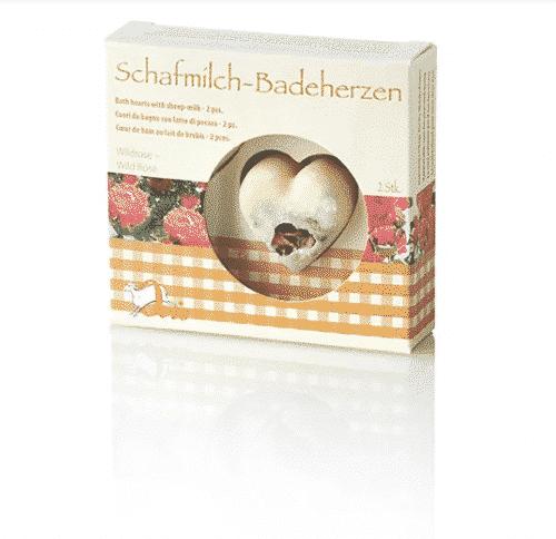 Badezusatz Schafmilch - Badeherzen Wildrose - Ovis 18 g