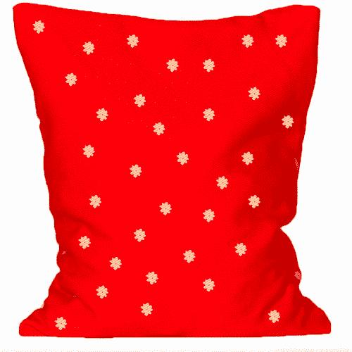 Zirben - Kopfkissen - Rot mit kleinen Blümchen Kissen aus Zirbe für Ihre Gesundheit Vorderseite