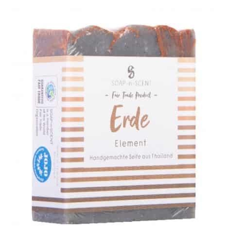 Seife Handgemacht- Element Erde mit Verpackung