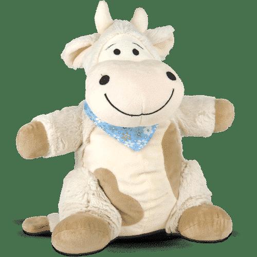 Kuscheltier Kuh mit Zirbenspänen Emma Blau Vorderseite