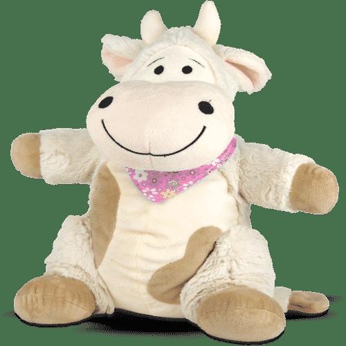 Kuscheltier Kuh mit Zirbenspänen Emma Rosa Vorderseite