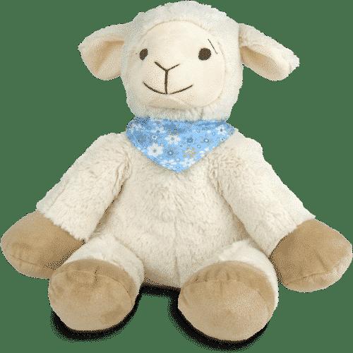 Kuscheltier Schaf mit Zirbenspänen - Flory - Blau Vorderseite