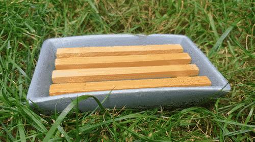 Seifenschale Grau - Bambus & Porzellan