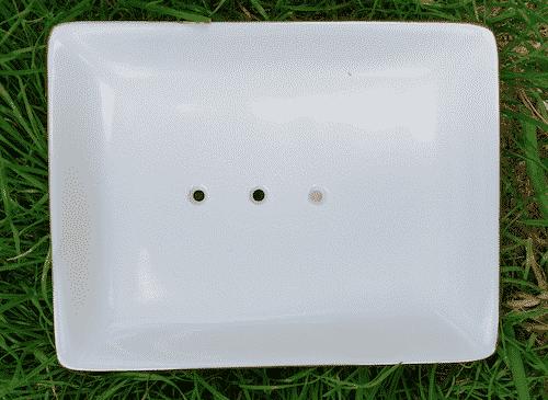 Seifenschale aus Porzellan - Weiß - Eckig 2
