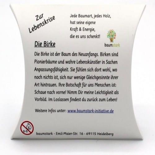 Grußkarte - Box mit Handschmeichler Birke zur Lebenskrise Rückseite