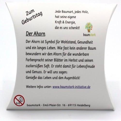 Grußkarte - Box mit Handschmeichler Ahorn zum Geburtstag - Rückseite