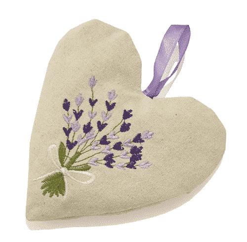 Leinenherz mit Lavendelblüten - Ovis 14 x 14 cm