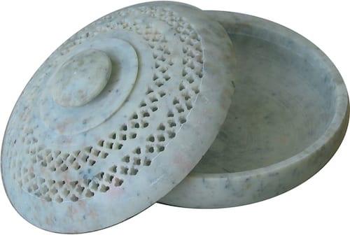 Räucherschale aus Naturstein mit Deckel - Troja 1