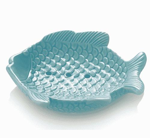 Seifenschale Fisch - Porzellan Blau - Ovis 15 x 11 cm