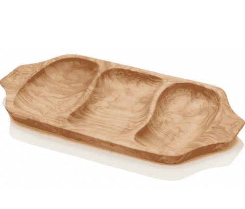 Seifenschale aus Olivenholz mit 3 Unterteilungen - Ovis 40 x 20 cm