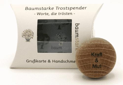 Grußkarte - Box mit Handschmeichler Eiche - Trostspender Kraft & Mut - Holz - Geschenkt - Vorderseite