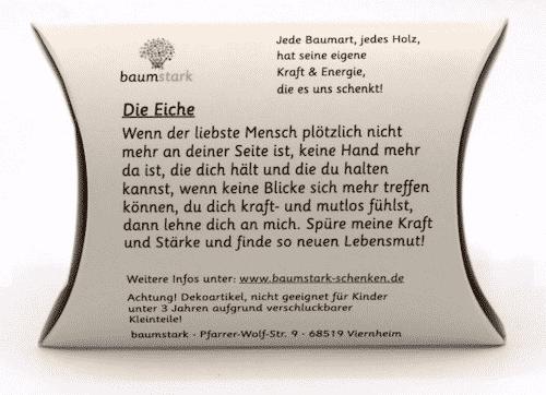 Grußkarte - Box mit Handschmeichler Eiche - Trostspender Kraft & Mut - Rückseite