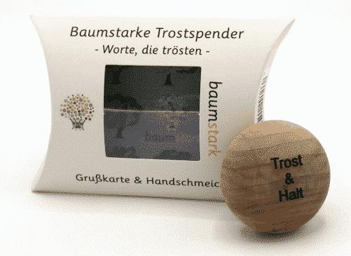 Grußkarte - Box mit Handschmeichler Nussbaum - Trostspender - Trost & Halt - Holz - Geschenk