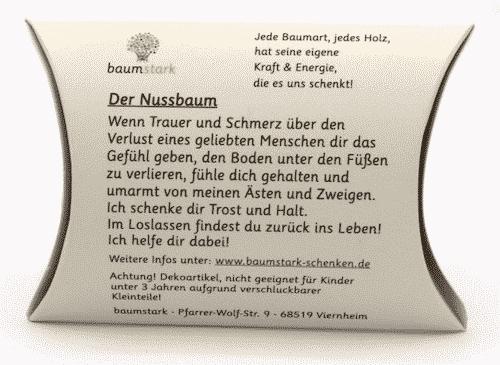 Grußkarte - Box mit Handschmeichler Nussbaum - Trostspender - Trost & Halt - Rückseite
