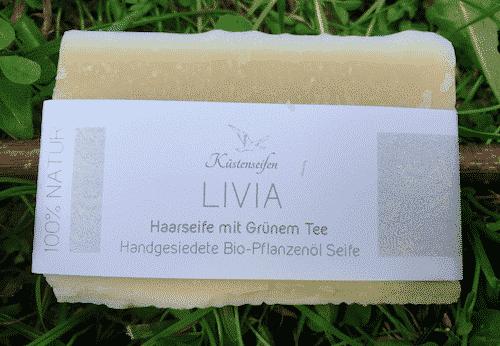 Bio Haarseife LIVIA mit grünem Tee Extrakt - Küstenseife 80 g