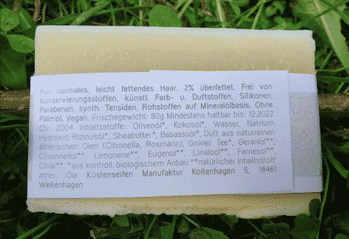 Bio Haarseife LIVIA mit grünem Tee Extrakt - Rückseite