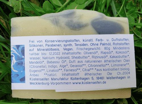 Bio Seife Meeresschatz mit Alge - Rückseite