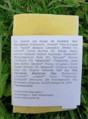 Bio Seife AVA mit Rügener Heilkreide - Rückseite