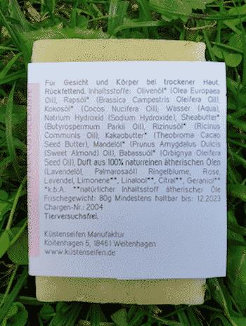 Bio Seife Sommerblühen mit Lavendel & Ringelblume - Rückseite