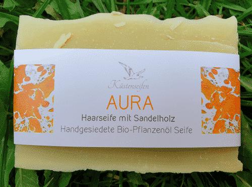 Bio Haarseife AURA mit Sandelholz - Küstenseife 80 g