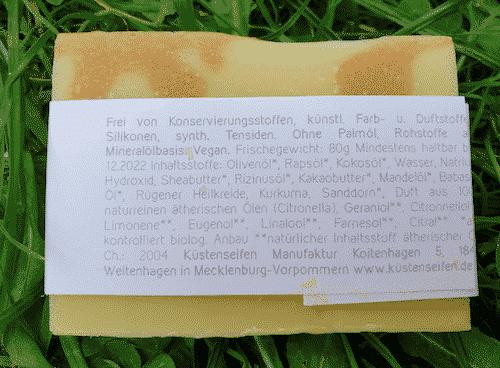 Bio Seife mit Sanddorn und Rügener Heilkreide - Rückseite