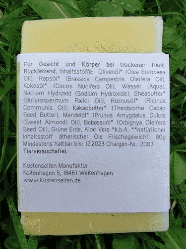 Bio Seife VIDA mit Aloe Vera und grüner Erde - Rückseite