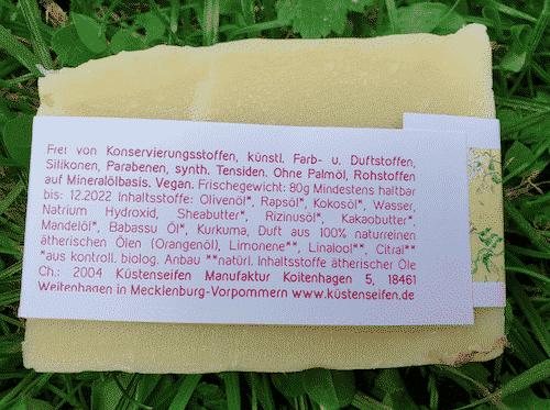 Bio Seife Kleine Träumerei mit Orangenöl und Babassuöl - Rückseite