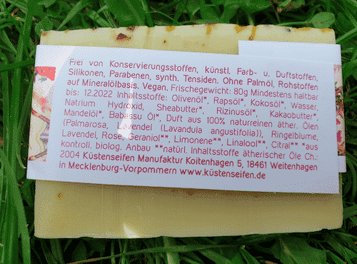 Bio Seife Blütenzauber mit Rose & Lavendel - Rückseite