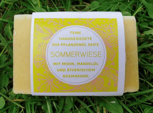 Bio Seife Sommerwiese mit Mohn Mandelöl & Rosmarinöl - Küstenseife 80 g