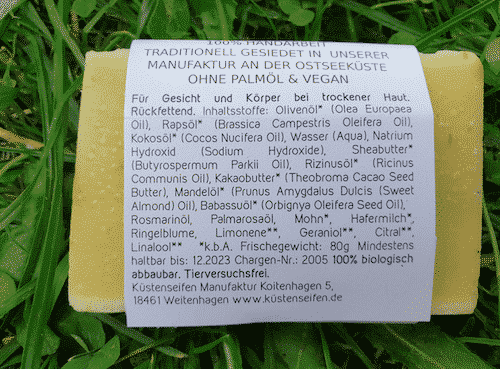 Bio Seife Sommerwiese mit Mohn Mandelöl & Rosmarinöl - Rückseite