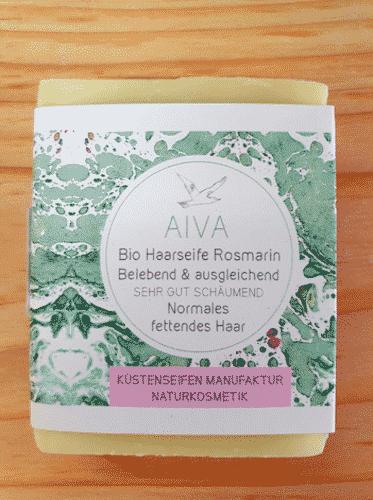 Bio Haarseife AIVA mit Rosmarinöl - Küstenseife 80 g