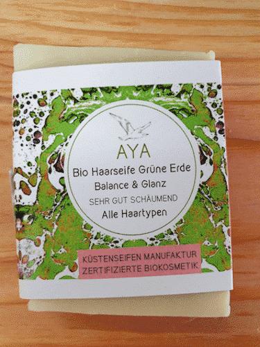 Bio Haarseife AYA mit grüner Erde - Küstenseife 80 g