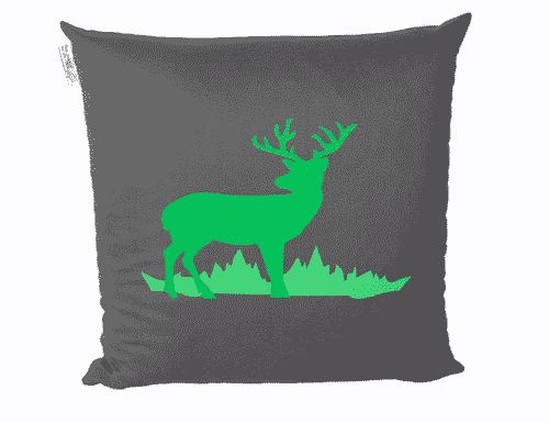 Zirbenkissen Hirsch - anthrazit - grün - Tiroler Zirbenkissen - 40 cm x 40 cm - Deko