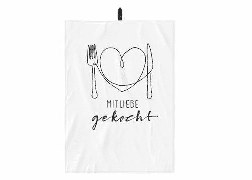 Geschirrtuch - mit Liebe gekocht - 100% Baumwolle - 50 x 70 cm - Handtuch aus der Küche