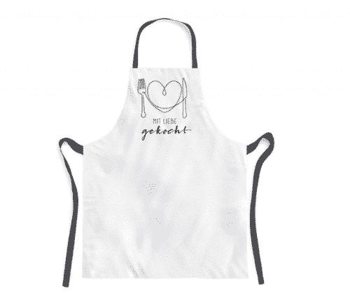 Schürze mit Liebe gekocht - Kochschürze aus 100% Baumwolle