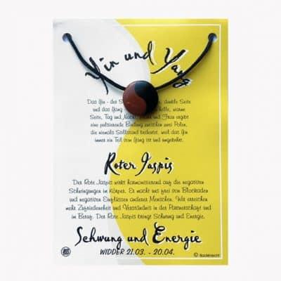 Anhänger aus Jaspis rot für Sternzeichen Widder - Edelsteinanhänger Yin Yang