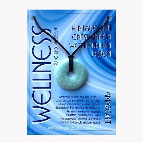Donut aus Amazonit für Sternzeichen Wassermann - Edelsteinanhänger - 1