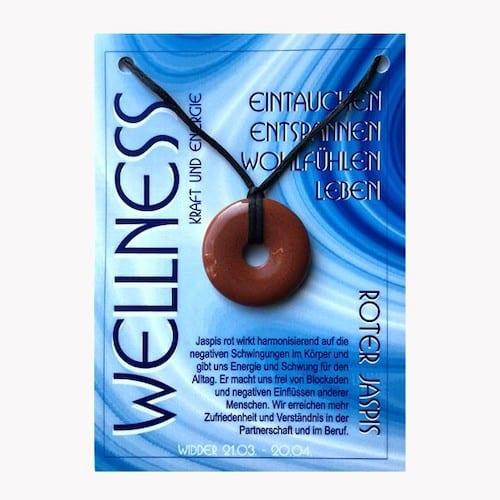 Donut aus Jaspis rot für Sternzeichen Widder - Edelsteinanhänger - 1